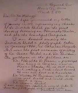 imagen de carta manuscrita de Elizbeth Ericikson a Carlos Malvezzi Taboada